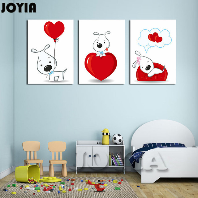 3 Pieces Wall Decor Pictures Cute Cartoon Dogs Paintings Children