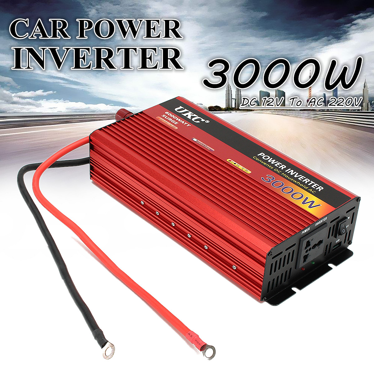 3000W DC 12V To AC 220V Portable Car Modified Sine Wave Power Inverters Converter 80% Inverter Efficiency Built-in Cooling Fan professional 3000w power inverter dc 12v to ac 110v 220v with led indicator light fan cooling universal socket car converter