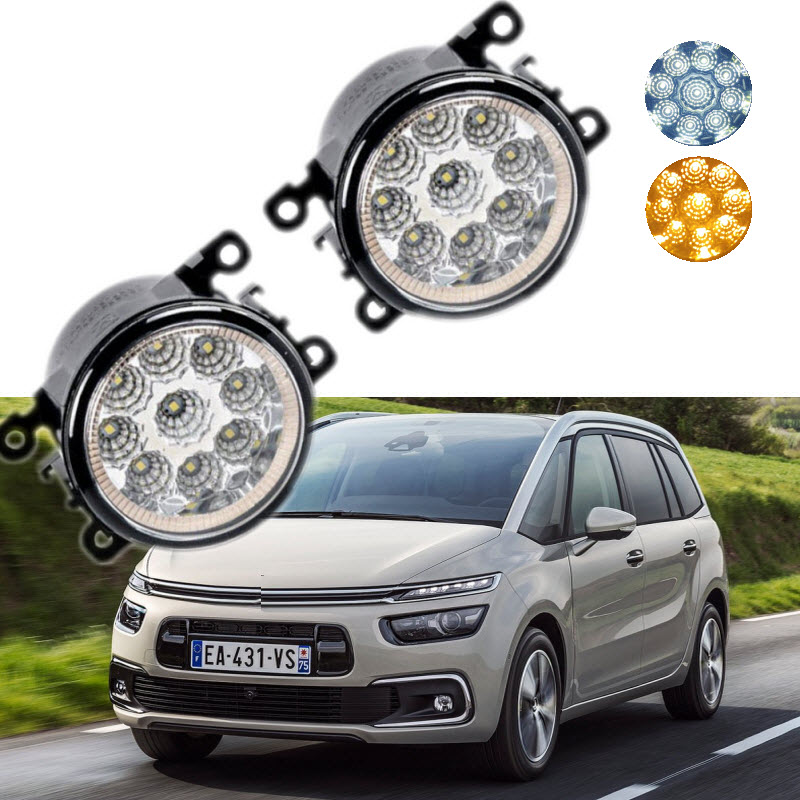 For Citroen C4 Picasso / C4 Grand Picasso 2006-2017 9-Pieces Leds Chips LED Fog Light Lamp H11 H8 12V 55W Halogen Fog Lights 2x bright error free h8 h11 led projector fog light bulb for citroen c2 c4 c4l c5 triumph