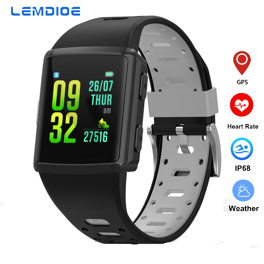 LEMDIOE Smart Watch Men IP68 Waterproof fitness bracelet with pressure measurement Smartwatch Android IOS Pedometer GPS