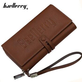 Baellerry duży telefon Handy sprzęgła kobiety mężczyźni portfel mężczyzna kobieta portmonetka dla Cuzdan pieniądze torba Baellery Portomonee torebka z paskiem na nadgarstek portfel