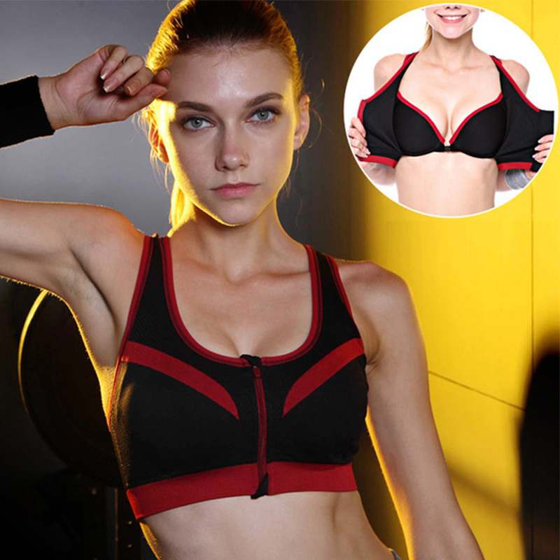 все цены на Binand Sexy Double Layer High-Impact Push Up Sports Fitness Bra For Yoga Running Front Zipper-Style Crop Top shirts