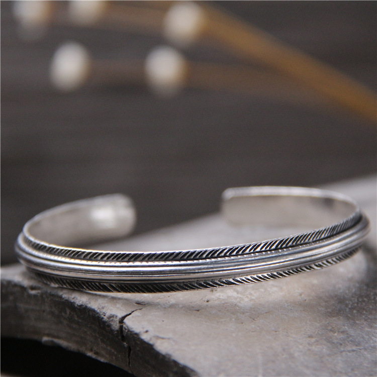 silver handmade silver bracelet S925 pure silver feather exotic openings Thai silver restoring ancient ways is female