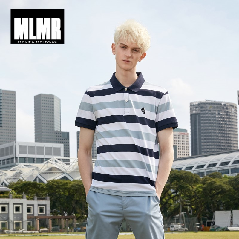MLMR Men's 100% Cotton   Polo   Striped Contrasting Embroidery Patch Slim Fit Turn-down Collar Style Poloshirts |219106506