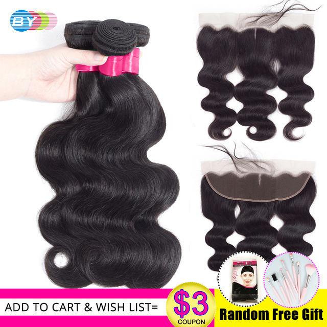 BY Body Wave Bundles With 13x4 Lace Fraontal Free Part Remy Human Hair Extension Brazilian Hair Bundles With Frontal Closure