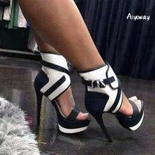 Aiyoway Women Shoes Peep Toe High Heels Sandals Platform Ankle Buckles Spring Summer Evening Party Dress Shoes Black &White 2019 цена