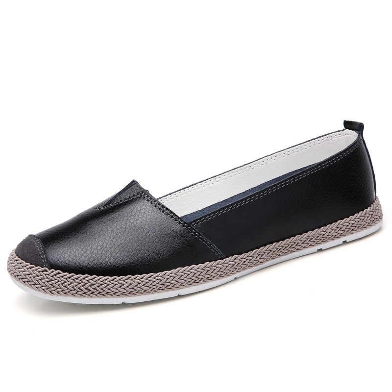 Zapatos ligeros Plardin hechos a mano nuevos de cuero para mujer, zapatos planos de costura, mocasines, zapatos planos de ballet, zapatos casuales suaves y cómodos para mujer
