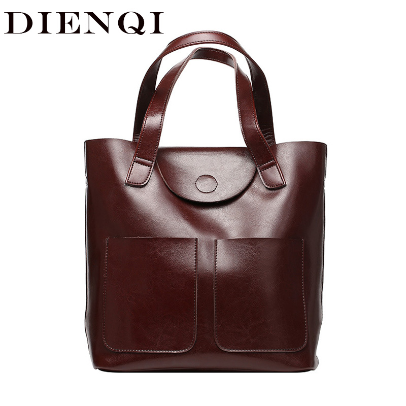 DIENQI Bucket Genuine Leather Shoulder Bags for Women Patent Leather Handbags Big Capacity Ladies Tote Hand