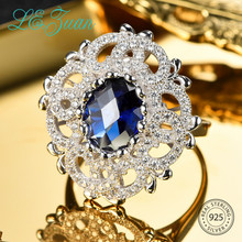 L& zuan Винтажный стиль 3.8ct созданное сапфировое кольцо для женщин из стерлингового серебра 925 пробы Натяжное кольцо с голубым камнем ювелирные изделия
