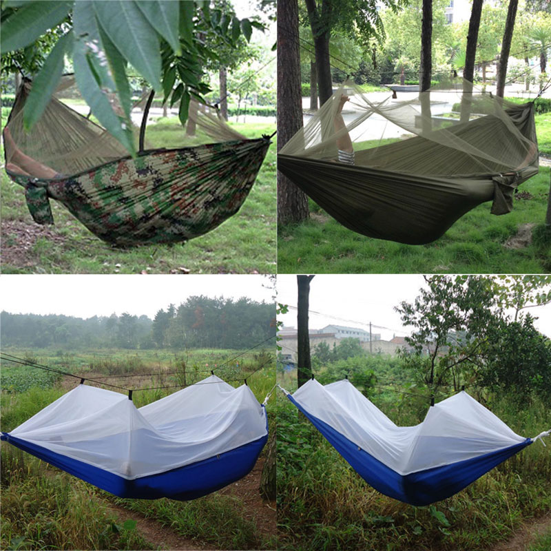 Including Two Memory Wires Tents Portable Outdoor Camping Hammock With Mosquito Net Parachute Fabric Tent Automatic Quick Opening