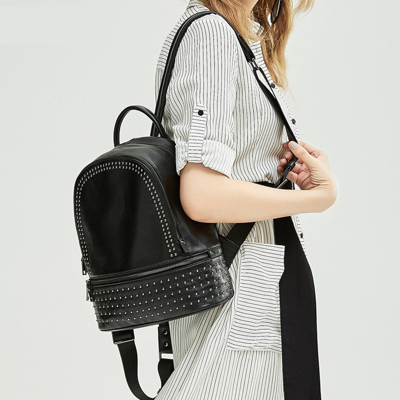 New Arrival Fashion Rivet Pattern Women Backpack All-match Ladies Bagpack Genuine Leather Leisure Korean Female Travel Bag new arrival ship pattern design brooch for female