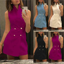 Women's Fashion Sleeveless Stand Collar Bodycon Dress Solid Formal Party Mini Dress Double Breasted Short Dresses turtleneck sleeveless slit double breasted dress