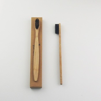 50 Pieces Black 100% Bamboo Toothbrush Wood toothbrush Novelty Bamboo soft-bristle Capitellum Bamboo Fibre Wooden Handle фото