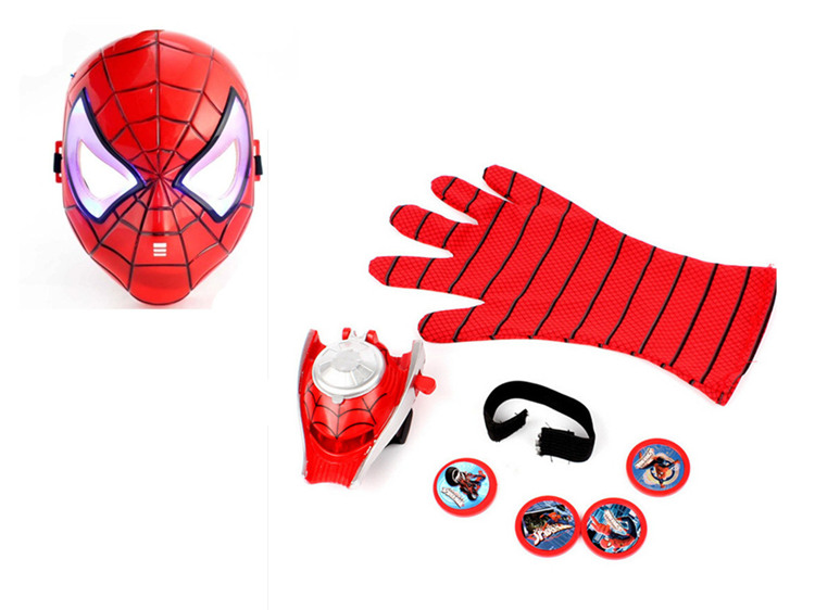 Cosplay Spider-Man 2 Flying saucer Launcher Glove and LED flash Mask sets toy Costume party Spiderman slinger juguete kids gift