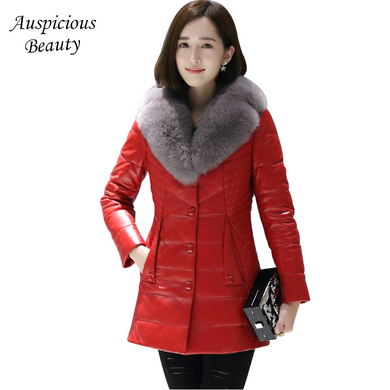 2017 New Women Winter Genuine Leather Jacket Female High Quality Real Fur Collar Sheepskin Leather Coats Women's Parkas  CXM357