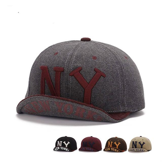 Premium Original Wool Ball Cap Men Women Winter NY Baseball Hats Short Brim  Hip Hop Caps Snapback Cap Flex Fit Hat Folding Brim d9b26611312