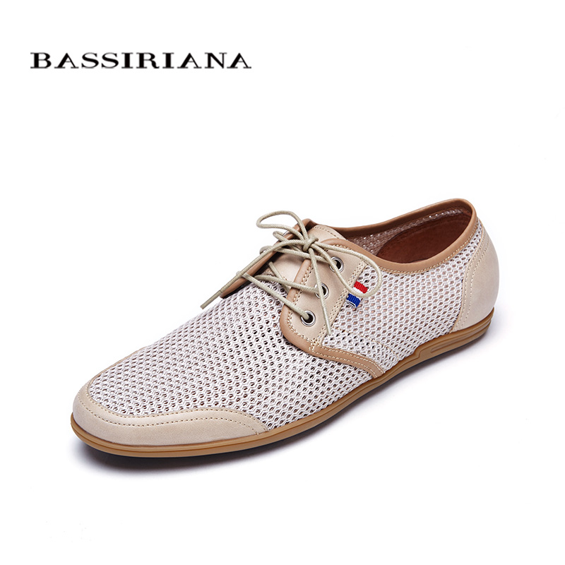 Фото Shoes men 2017 Spring Leather with Fabric Breathable High quality shoes Lace-Up Big size 39-45 Free shipping BASSIRIANA