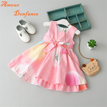 Female Kid's Summer Vest Dress 2-8 Age Baby Girls Peach Bow Waist Ties Floral Printing Dandelion Sleeveless Dress FY0071