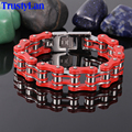 TrustyLan 16MM Wide 22CM Length Bicycle Chain Bracelet Never Fade Red Stainless Steel Bracelet Men Bracelets Bangles Wristband
