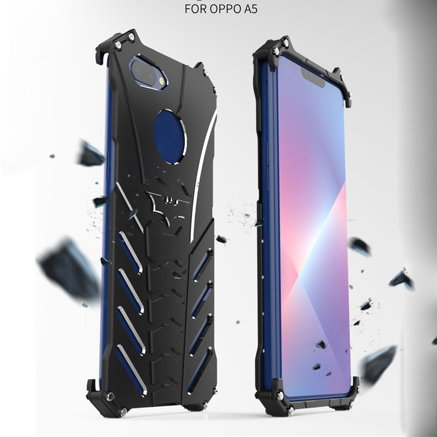 OPPO A5 Case R-JUST Luxury Batman Aluminium Metal Cases For OPPO A5 Mobile Phone Cover Coque