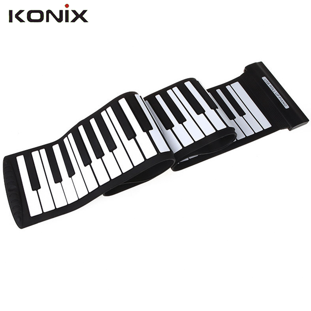 Nueva Llegada de Silicona Teclado Flexible USB 88 Teclas MIDI Roll up Electronic