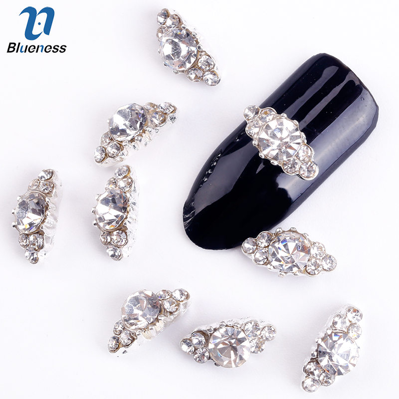 Blueness 10Pcs 3D Nail Art Decorations Diy Glitter Silver Alloy Charm Clear Rhinestones Crystal Marquise For Nails Tools TN1125
