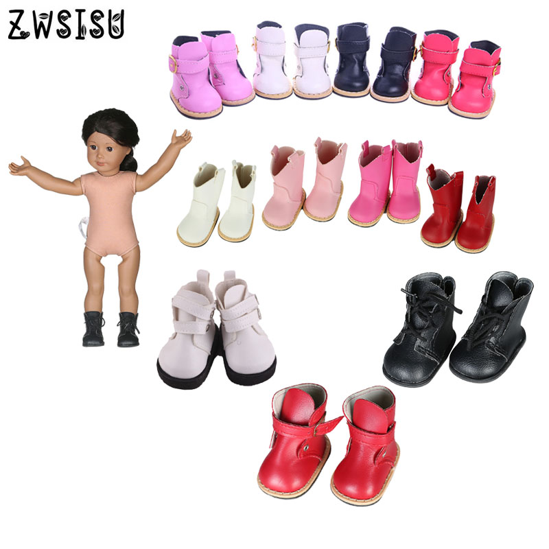 Doll Boots Shoes 12 Styles Leather Colorful Boots High Quality For 18 Inch American Doll For Generation Girl`s Toy Accessories
