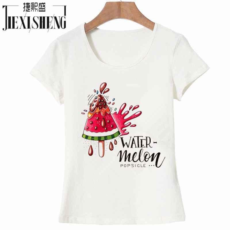 재미 있은 수박 인쇄 된 여성 t 셔츠 캐주얼 여름 짧은 소매 o-넥 t-셔츠 플러스 크기 화이트 탑스 camiseta feminina