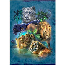 DIY 5D Diamond Painting Animal Tiger Lion Leopard Cross Embroidery Mosaic Rhinestone Decorative Ornament