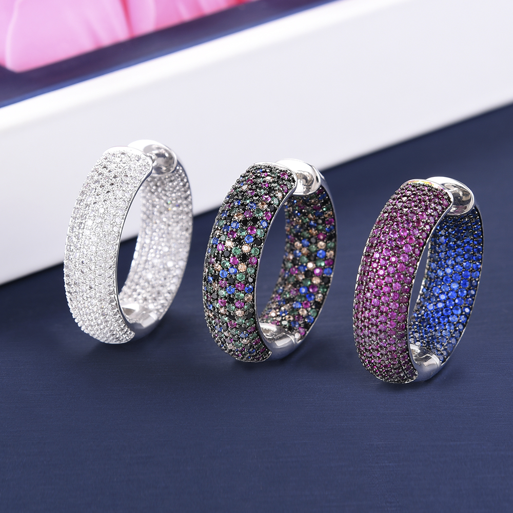 missvikki Chic Exquisite Professional Womens Jewelry Earrings Dense Crystal Multicolor CZ Office Style 3 Colors Top QualityHoop Earrings   -
