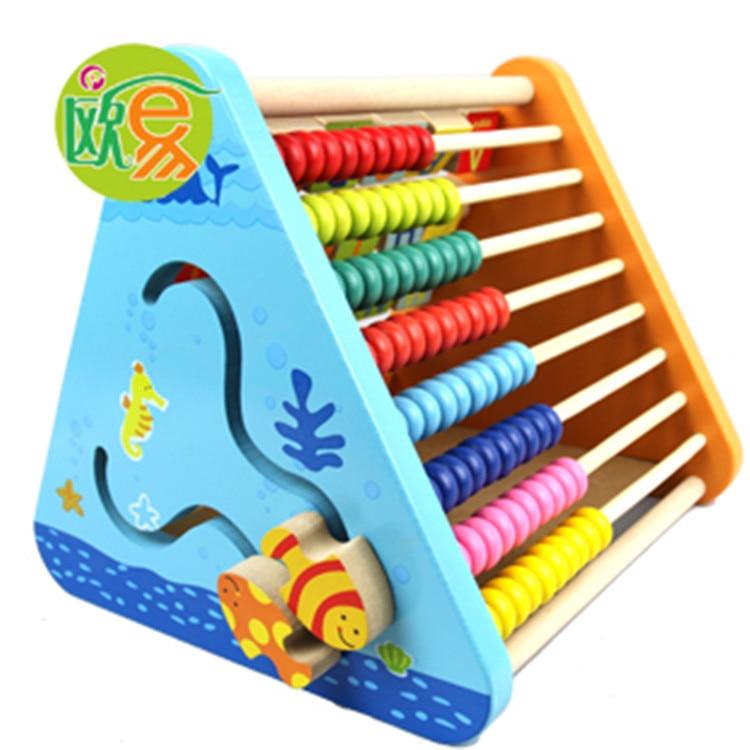 Combinaison de rabat multifonction en bois perles de puissance revigorantes cadre de calcul d'apprentissage à cinq côtés jouets Montessori