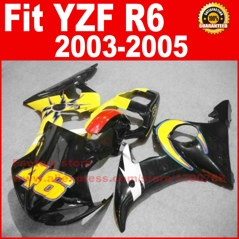 New motorcycle fairings set for 2003 2004 2005 YAMAHA YZFR6 03 04 05 YZF R6 46 yellow black fairing kits bodywork repair parts motorcycle front light headlight head lamp for yamaha yzf r6 yzfr6 yzf r6 2003 2004 2005 03 04 05