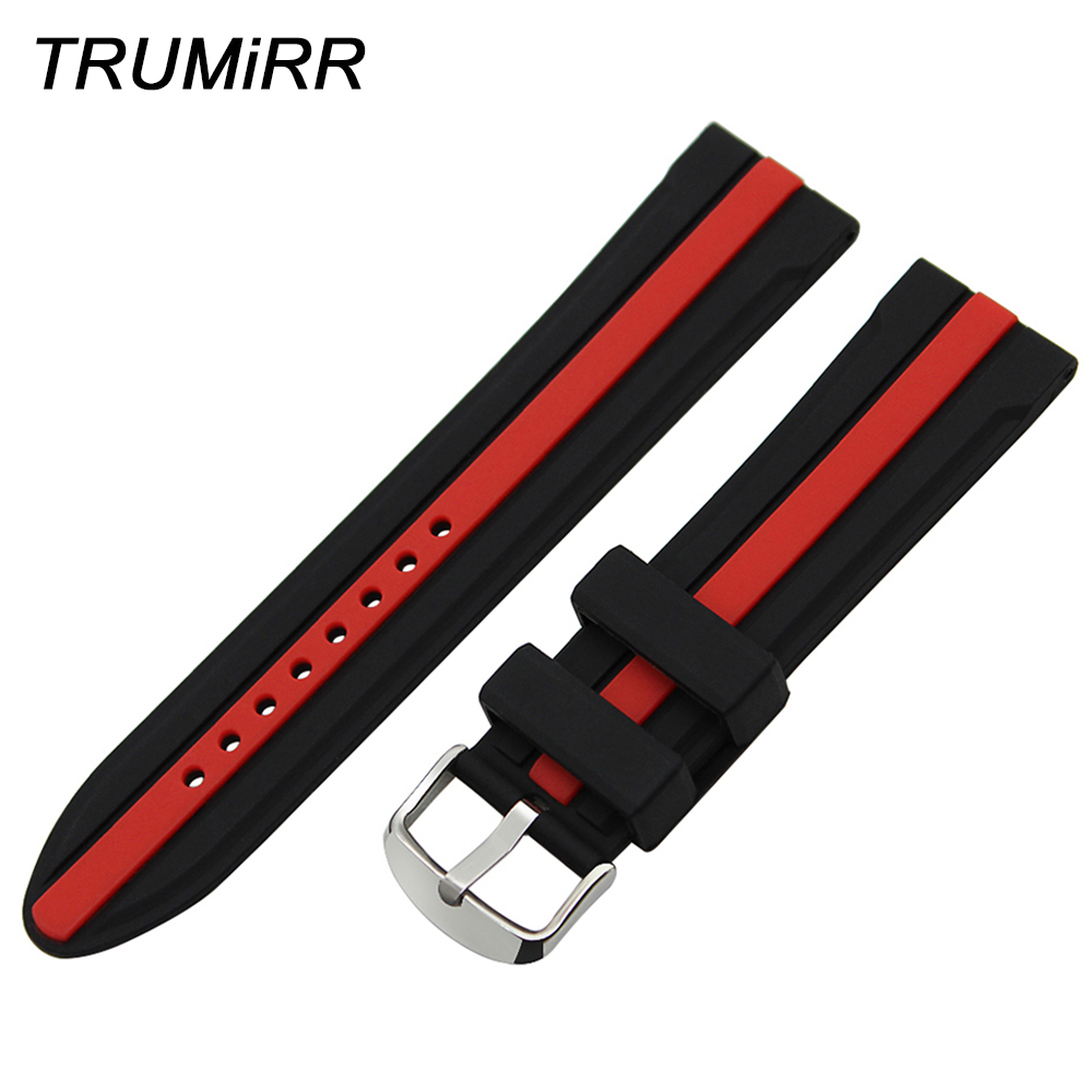 24mm Silicon Rubber Watchband + Tool for Suunto TRAVERSE Watch Band Wrist Strap Stainless Steel Buckle Belt Bracelet Black Red цена