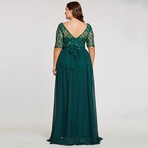 Image 3 - Tanpell fashion plus вечерние платья охотник совок линии длиной до пола платье шифон с половиной рукавов кружева бисером длинное вечернее платье