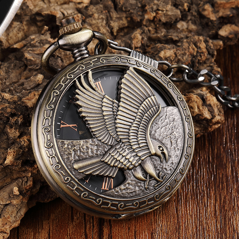 Retro Bronze Eagle Hand-wind Mechanical Pocket Watch Mens FOB Waist Chain Hollow Skeleton Roman Mechanical Watch Male Clock Gift retro luxury gold smooth mechanical pocket watch fob chain roman dial hand wind steampunk hand wind pocket watch male clock gift