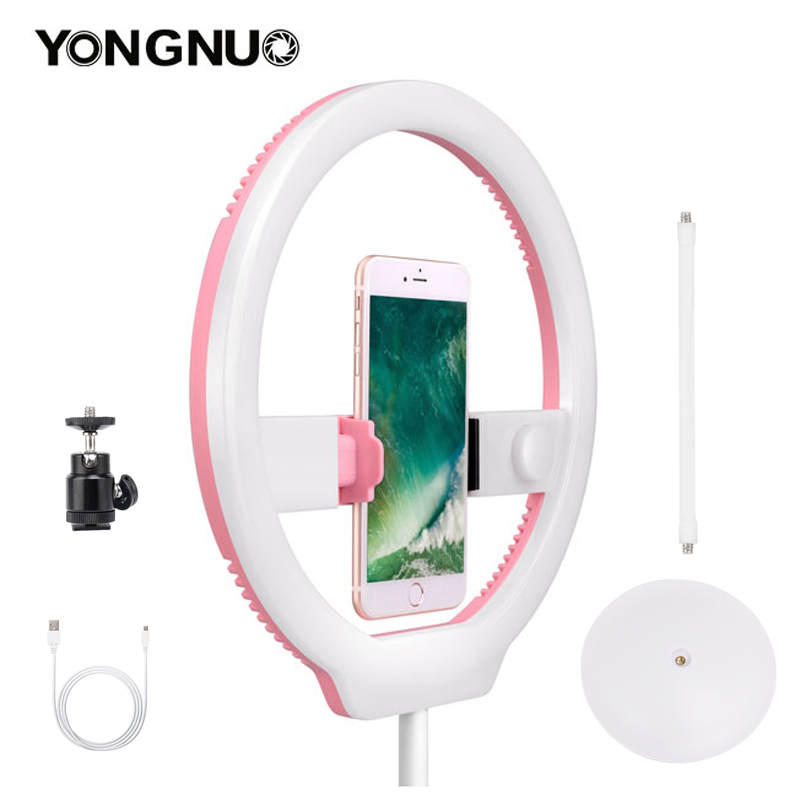 US $41 27 20% OFF|YONGNUO YN128 Photography LED Ring Light 3200K 5500K  Dimmable Ring Live Video Lamp for iPhone 8/7/7plus Nikon Canon DSLR  Camera-in