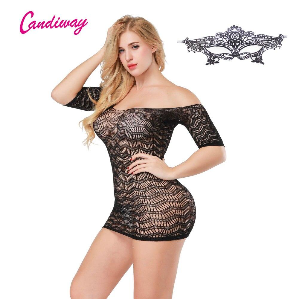 Sexy Lingerie Mini Short Women Open Back Sleeve Bodycon Dress Sexy Teddies  Erotic Crochet Knit Dress Hollow Out Net Dress GA245