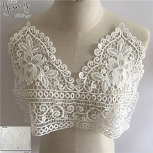 Aplique bordado vazado branco, suprimento decorativo de renda para colar, vestido de costura faça você mesmo