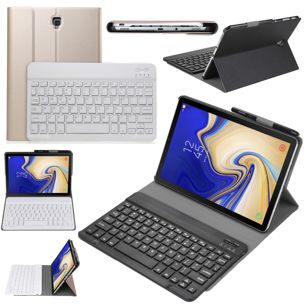 Russian Hebrew Spanish Detachable Wireless Bluetooth Keyboard Stand Leather Case For Samsung Galaxy Tab S4 10