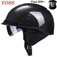 New Light Half Cover Carbon Fibre Motorcycle Helmets Face Motorbike Helmet Retro Casco Casque Locomotive