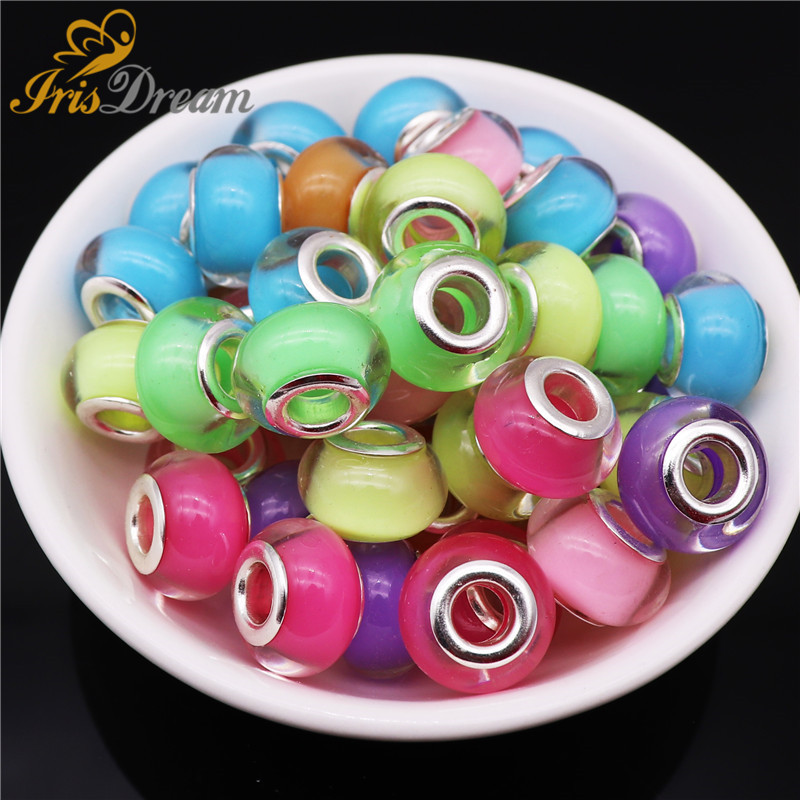 20Pcs New Hot Rondelle Murano Spacer Resin Glass European Beads fit Pandora Bracelet DIY Charms for Jewelry Making Women Girls in Beads from Jewelry Accessories