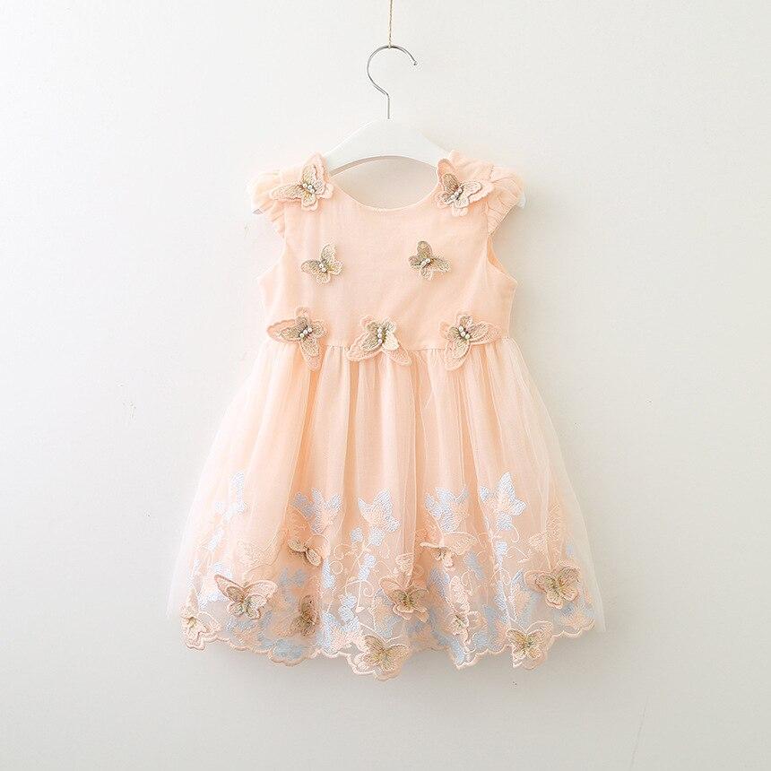 6348 Butterfly Embroidery Summer Princess Party Girls Dress A line 2018 Sundress Tutu Kids Dresses Wholesale
