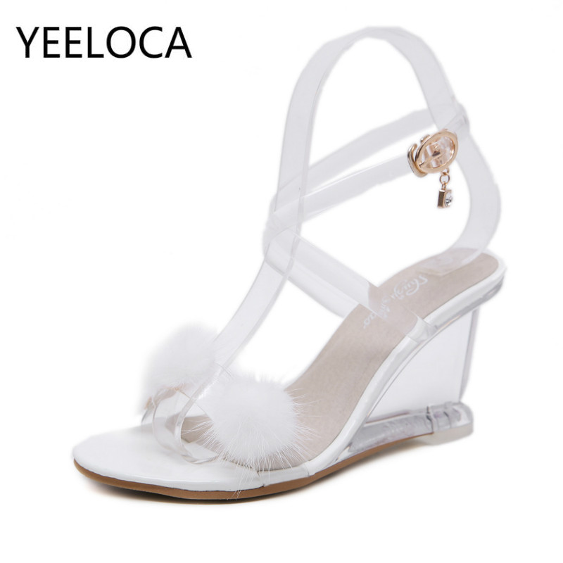 YEELOCA Wedges Sandals Glass-Heel-Shoes Women's Shoes Summer Fur-Ball New-Type Simple