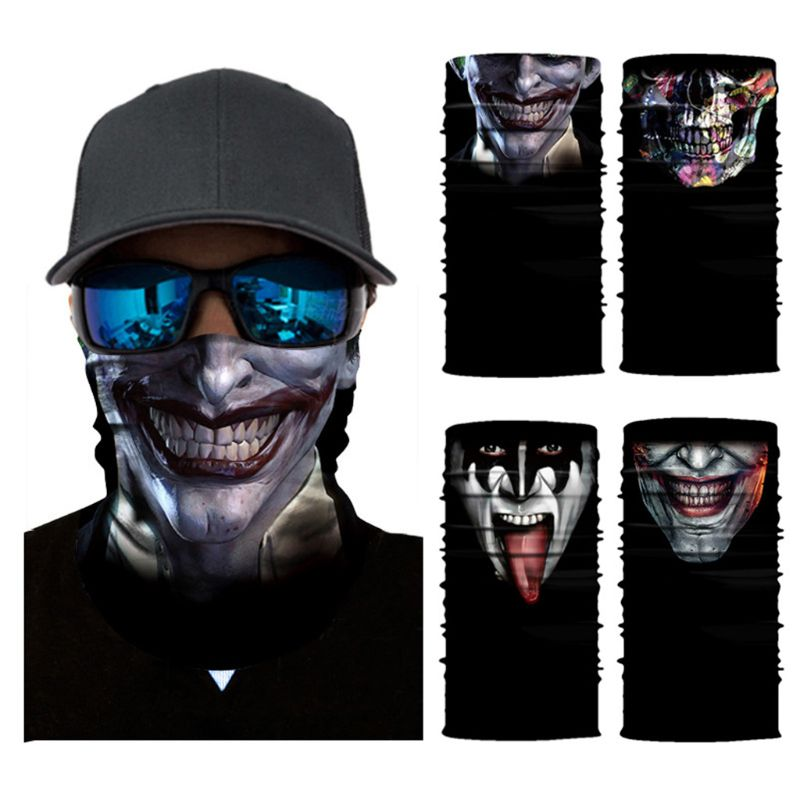 Party Outdoor Widen Magic Scarf Ghost Face Skull Clown Digital Printing Cycling Motorcycle Tube Headband Turban Face Mask