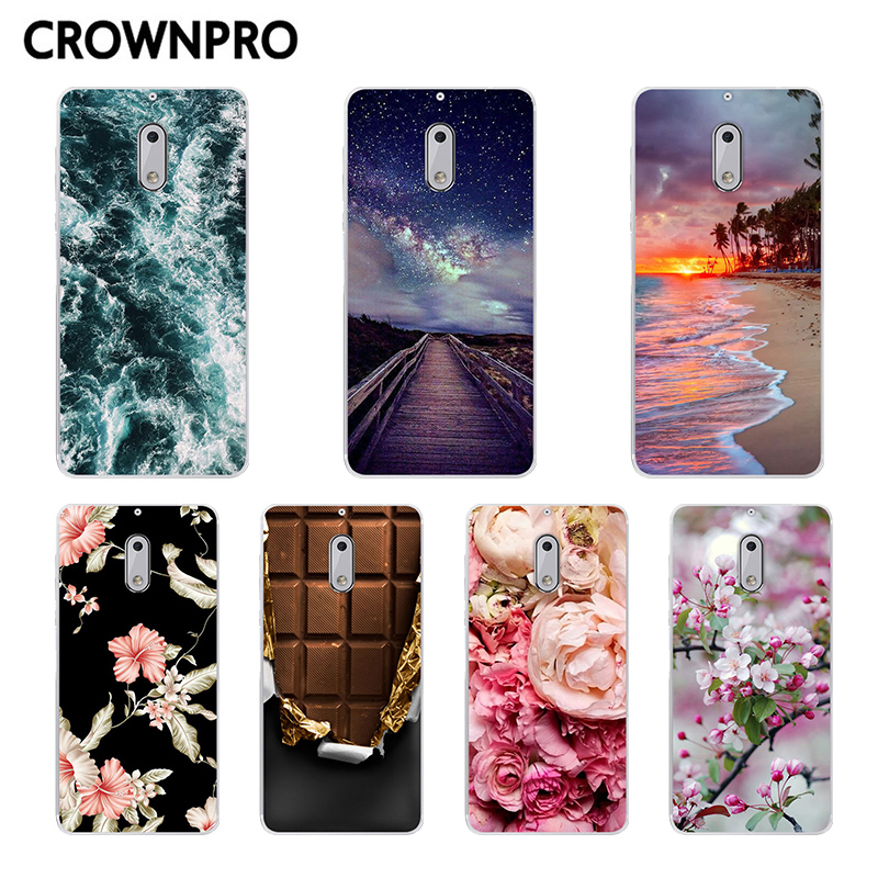 CROWNPRO TPU FOR Fundas <font><b>Nokia</b></font> <font><b>6</b></font> <font><b>2017</b></font> Nokia6 Soft Case Phone FOR <font><b>Nokia</b></font> <font><b>6</b></font> TA-1021 Silicone Protective Case Flower Back Cover image