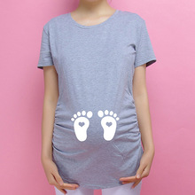 European American Cotton Pregnant T Shirts Plus Size Women Summer Apparel Baby Footprints Printed Creative Maternity