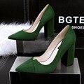 Женская мода высокого качества нубука кожаные ботинки женщина на высоких каблуках партия зеленых насосы леди весна и осень скольжения на офис обувь