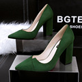 women fashion high quality nubuck leather shoes female high heel party green pumps lady spring and autumn slip on office shoes