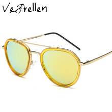 VeBrellen Fashion Women Polarized Sunglasses Vintage Twin-Beams Design Metal Frame Oculos De Sol Gafas Eyeglasses VJ113