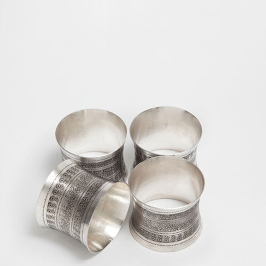 Aluminum Alloy Home Decorative Wedding Napkin Rings Silver Table Restaurant Accessories Guardanapo Vintage Party Tools 50N0172